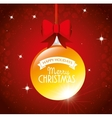 big ball merry christmas happy holidays ribbon bow vector image