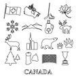 canada country theme symbols outline icons set vector image