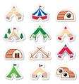 Glamping luxurious camping tents and bambu houses vector image