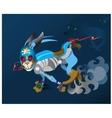 hare - robot runs away from persecutors vector image