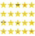 stars with smiley faces vector image