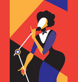 singing woman vector image vector image