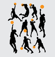Basketball sport silhouettes vector image