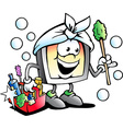Cartoon of a Happy Screen or Monitor Cleaner vector image vector image