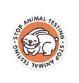 Stop animal testing rabbit isolated badge vector image