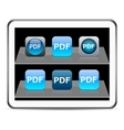 PDF blue app icons vector image