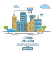city drone delivery in flat vector image