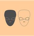 extraterrestrial alien face or head dark grey set vector image