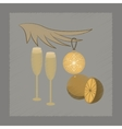 flat shading style icon glasses champagne oranges vector image