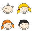 Happy kids and baby hand drawn face vector image