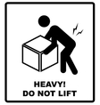 Warning heavy object sign Do not lift Mass vector image
