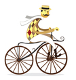 Retro gentleman with mustaches on a bicycle vector image