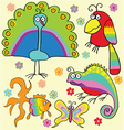 Rainbow animals vector image