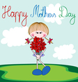 Happy Mothers Day card with cartoon girl vector image