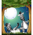 Two zebras at the forest vector image