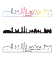 Lahore skyline linear style with rainbow vector image vector image