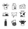 Dairy and milk icons set vector