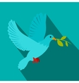 Dove of peace flying with a green twig olive icon vector image