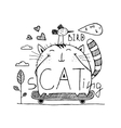 Cat and bird cute friends skateboarding outline vector image