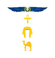 egypt symbols - winged sun ankh nemes and camel vector image