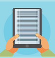 flat background with hands and e-book vector image