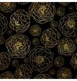 Golden On Black Peony Flowers Summer vector image