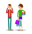 young girl is standing and holding shopping vector image