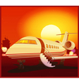 private aviation and sunset vector image vector image