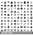 100 bag icons set simple style vector image