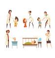 ill children hospital treatment cartoon set vector image