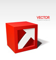 Infographic red 3D cube with arrow vector image