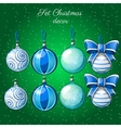 Set of Christmas balls on a green background vector image