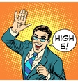 High five joyful businessman vector image