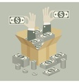 Box of money in hand vector image vector image