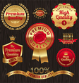 set of golden quality labels and emblems vector image