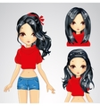Girl In Red Sweater And Collection Of Hairstyle vector image