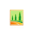 pine tree green hill logo vector image