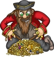 Pirate with gold treasure vector image