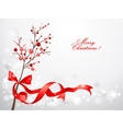 Red christmas berries on snow background vector image