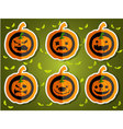 Face pumpkins for Halloween set 3 vector image