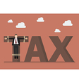 Businessman crucified on tax word vector image vector image