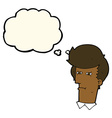 cartoon man narrowing eyes with thought bubble vector image