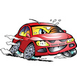 Cartoon of a red Sports Car Mascot racing in vector image