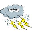 Cartoon rain cloud with lightning bolts vector image