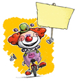 Clown on Unicle Hoding Plackard vector image