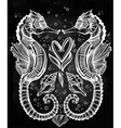 seahorse with heart line art vector image