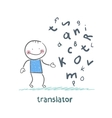 translator is thinking about letters vector image