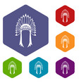 indian headdress icons set vector image