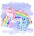 fantastic postcard with pegasus and unicorn vector image