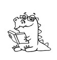 dragon sits and reads a book vector image